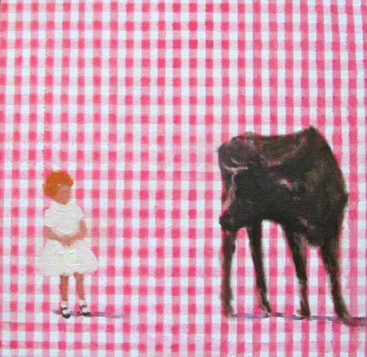 In blush time (gingham honey I) oil on canvas 10 x 10 in. 2012