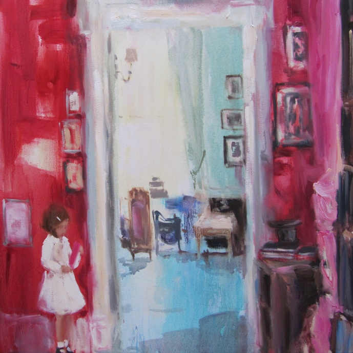 In blush time (wonder what you're thinking) oil on canvas 30 x 30 in. 2012