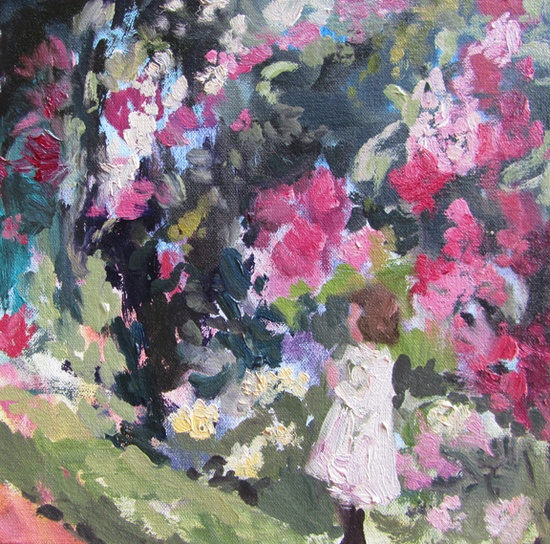 In blush time (tangled garden study) oil on canvas 8 x 8 in.  2012