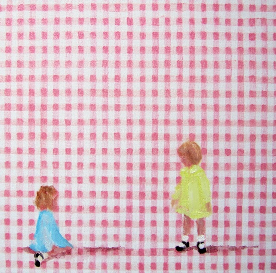 In blush time (gingham honey VI) oil on canvas 10 x 10 in. 2012