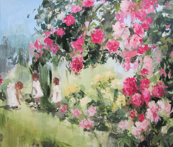 In blush time (tangled garden) oil on linen 36 x 42 in.  2012
