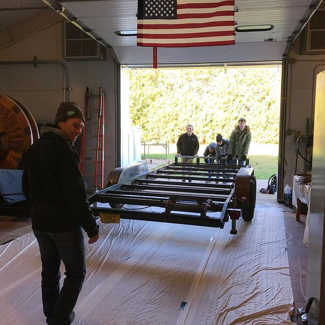 The old launch trailer is finally getting a makeover.  Today was hours of grinding and there is still more to go.  It's so cold the paint won't set!  #engineering #science #grindeveryday #freezing #launchpad #rocket #boomiezoomie
