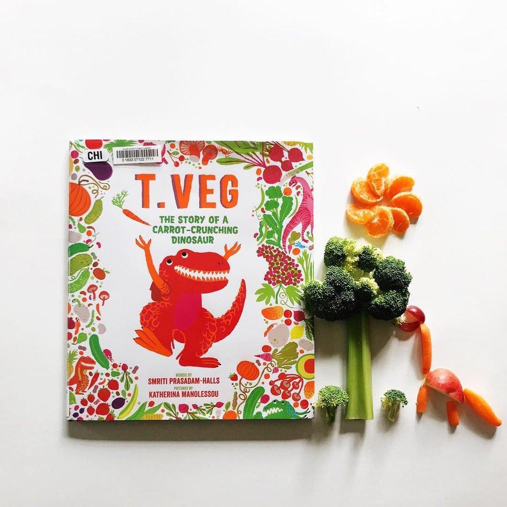 T. Veg: The Story of a Carrot-Crunching Dinosaur  by Smriti Prasadam-Halls illustrated by Katherina Manolessou