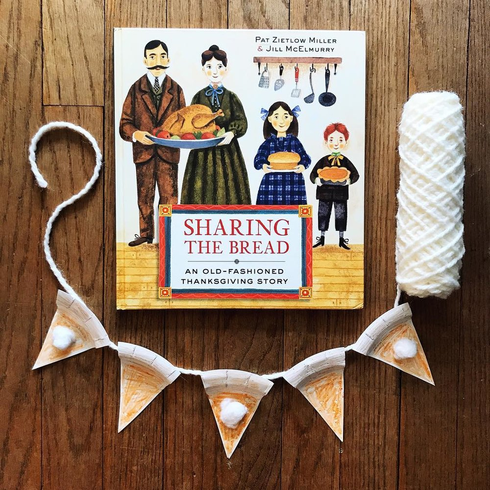 Sharing the Bread: An Old-Fashioned Thanksgiving Story by Pat Zietlow Miller illustrated by Jill McElmurry  A story that follows the hustle and bustle of holiday meal preparations, highlighting the whole family