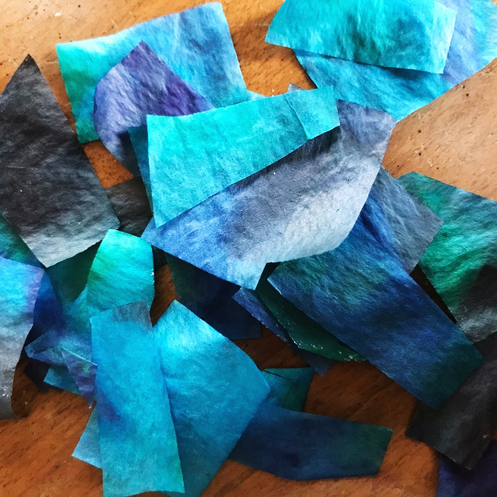 How pretty is this used up tissue paper?? Stick it in a bag and it will make some great collage material for another day!