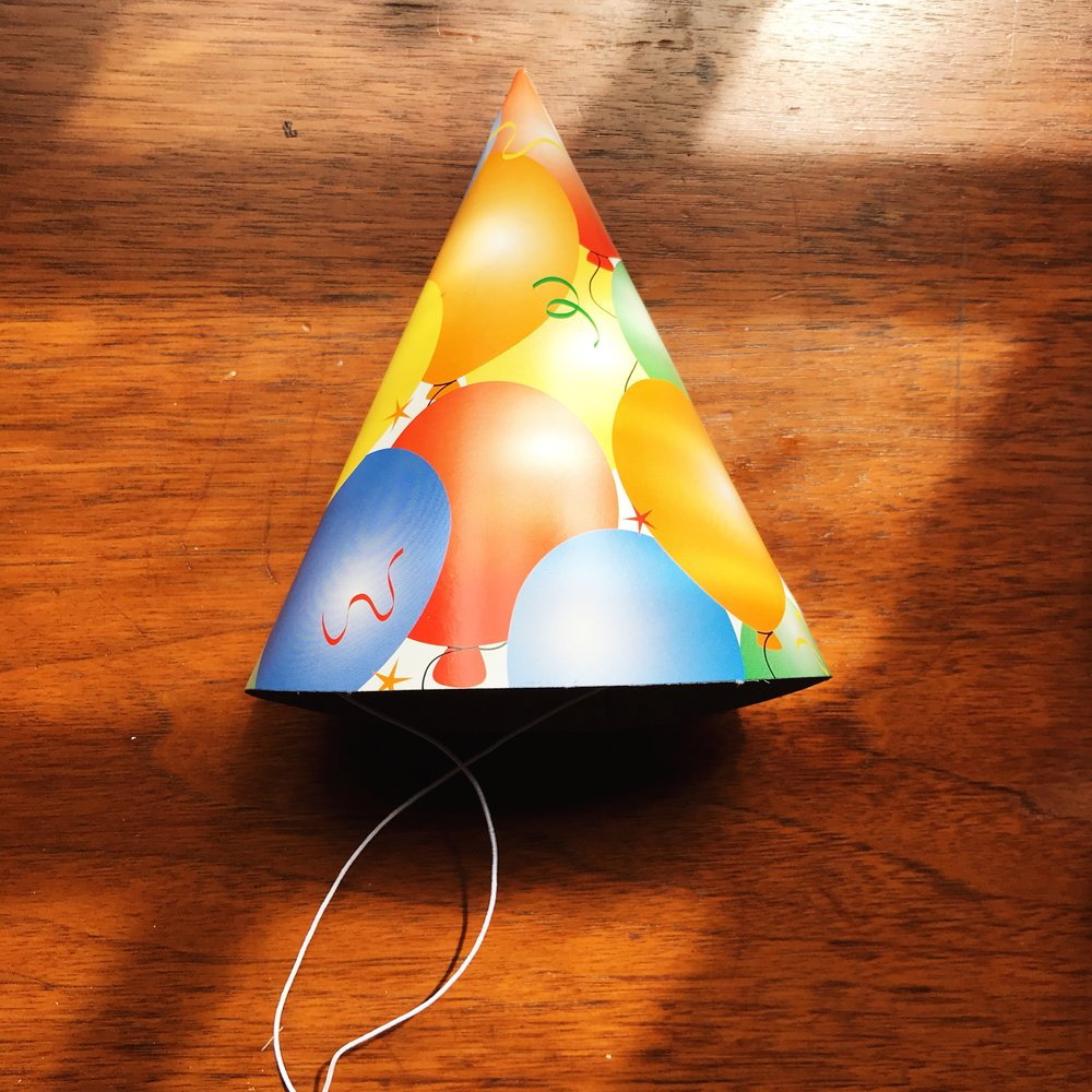 Goodbye dollar store party hat!