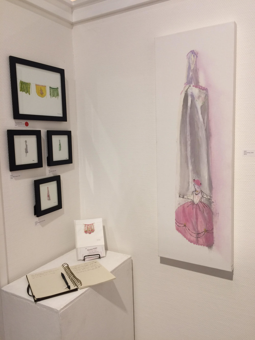 "Photo by Marissa Solini. Featured ""Jane"" paintings and assorted apron mini paintings and prints"
