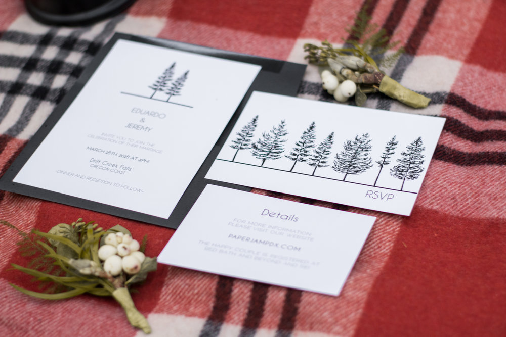 Oregon Waterfall Elopement Invitation Flatlay