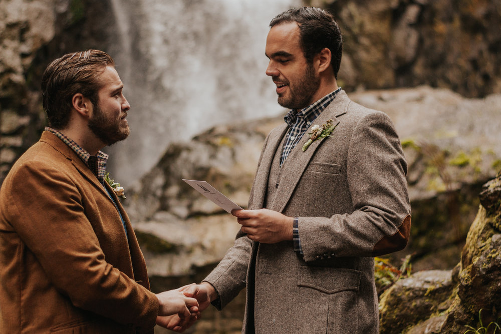 Oregon Forest Elopement Same Sex Reading Vows