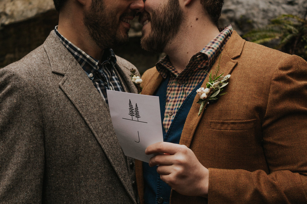 Oregon Forest Elopement Same Sex Couple Holding Vows