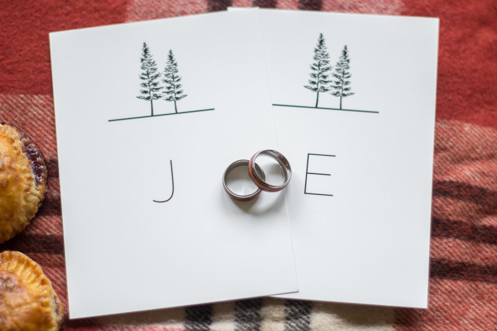 Oregon Forest Elopement Same Sex Vow Cards and Rings