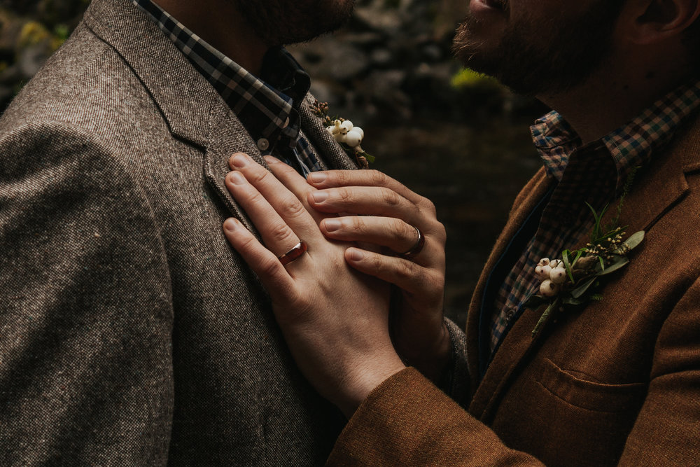 Oregon Forest Elopement Same Sex Wedding Bands