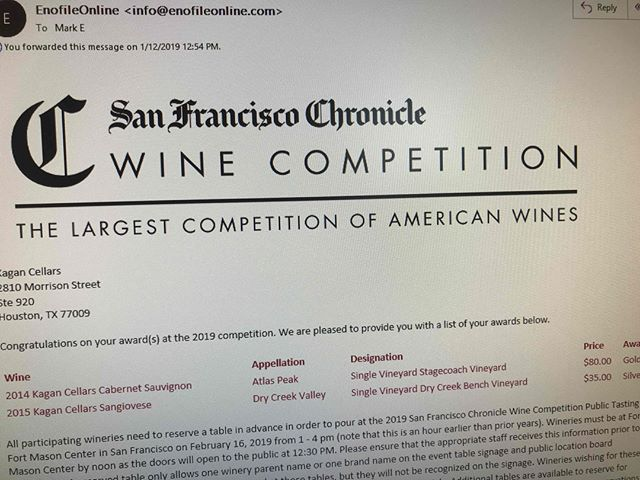 Kagan Cellars 2014 Stagecoach Cabernet Sauvignon just won Gold at the SFC Wine Competition, the largest wine competition in the county!!!