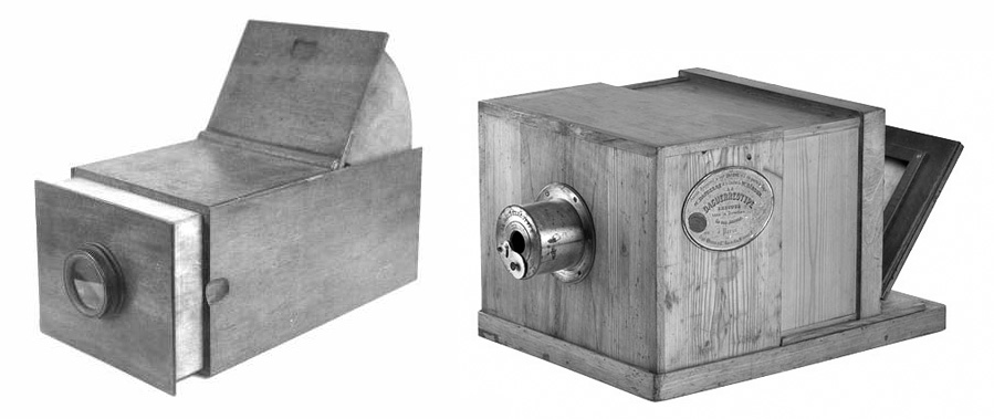 Left, Camera Obscura, c.1800. Right, Daguerreotype Camera, 1839.