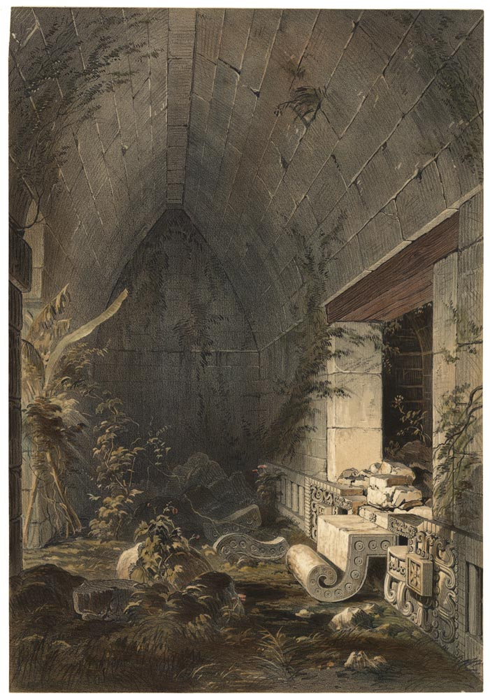 Interior of the Principal Building at Kabah, from Views of Ancient Monuments in Central America, Chiapas and Yucatan 1844
