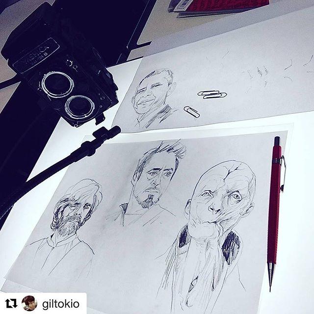 #Repost @giltokio (@get_repost) ・・・ Aula de hj na @quantaacademiadeartes sobre retratos e caricaturas. #snoke #tonystark #tyrionlannister #obama #neolucida #Yashica #tlr