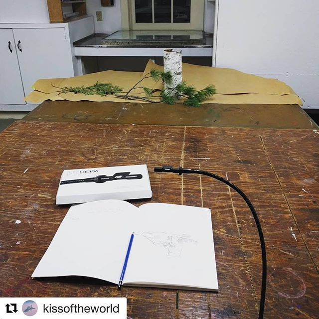 "#Repost @kissoftheworld (@get_repost) ・・・ Finally busting out my ""Neo Lucida"" and getting my 21st century camera lucida tracing on. I supported the hugely popular Kickstarter a bunch of years ago but never took the thing for a test drive. With a photo darkroom in the back of the studio as well, I can feel the ghosts of my photographic lineage gathering about.... 🙌📷 #neolucida #cameralucida #waysofseeing"
