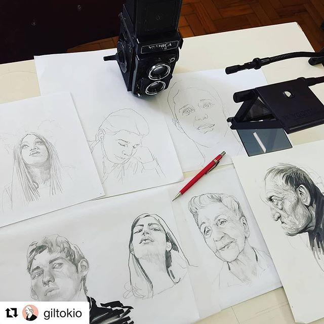 #Repost @giltokio (@get_repost) ・・・ Desenhos da aula de ilustração fotográfica de hj no @iedsp. Os dois primeiros são demonstrações minhas, os demais, de alunos. #davincieyesapp #neolucida #neolucidaxl #yashika #tlr