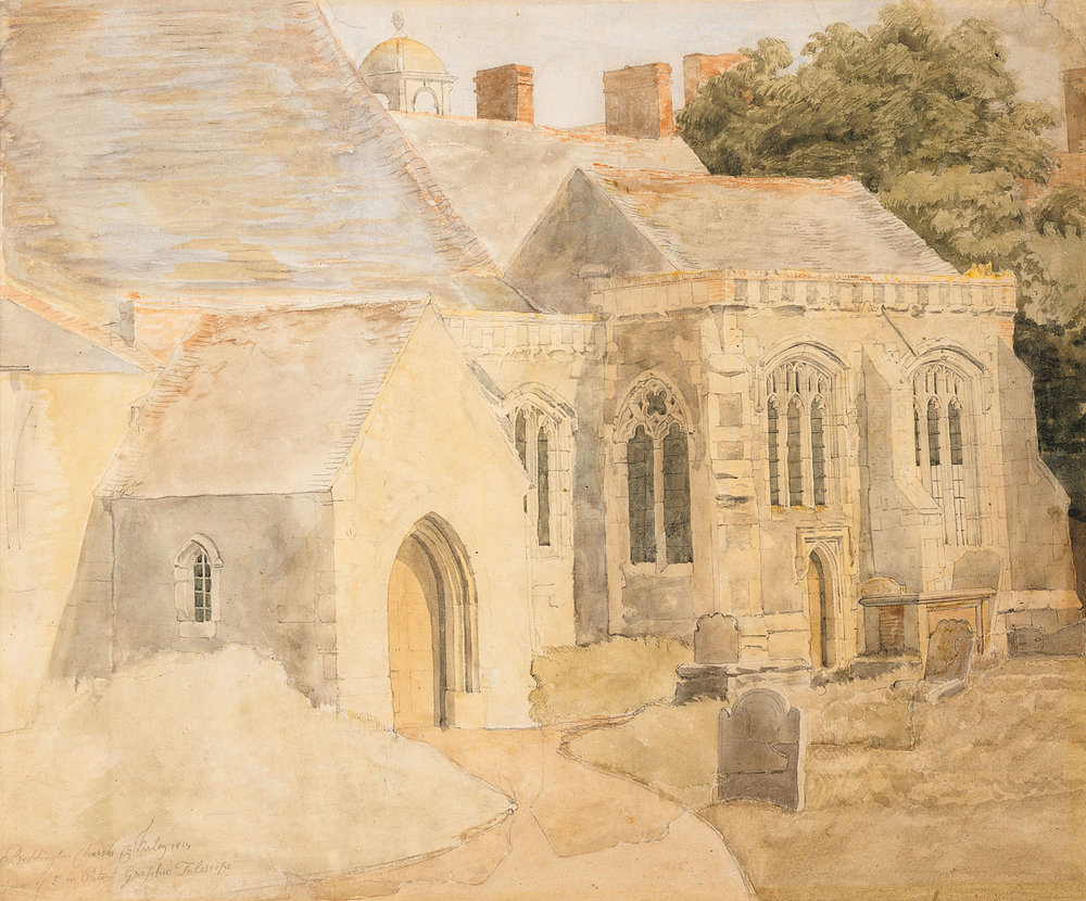 St. Mary's Abbey, Beddington (1814). Made with Varley's Patent Graphic Telescope with a magnification power of 5.