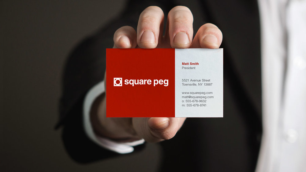 Square Peg Communications business card design concept from Insomniac Studios. Copyright 2017.