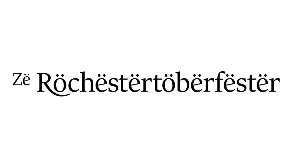 Zë Röchëstërtöbërfëstër is an annual Oktoberfest event held annually in Rochester, New York. Or, it would if it weren't completely made up. Still, it would be fun. Logo by Insomniac Studios.