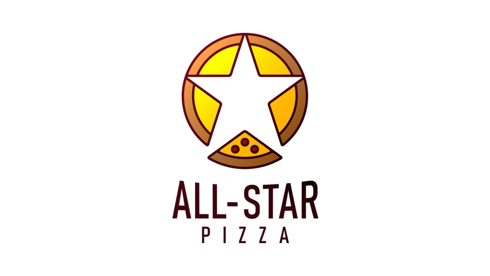 The All-Star Pizza logo shows five slices being pulled apart to reveal a negative star shape.