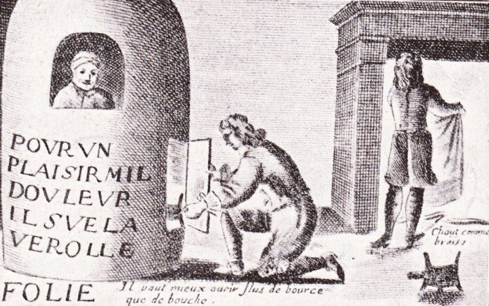 Depiction of a man in a fumigation stove, engraving by Jacques Laniet, Paris, 1659, as published in a Romanian book in 1933