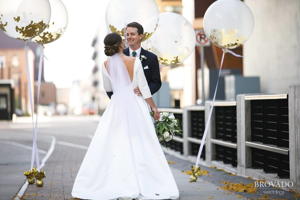 Hannah + Jason | Machine Shop Wedding | Brovado Weddings | Sixpence Events Day of Coordinating | David's Bridal Dress | Girl Friday Creative balloons