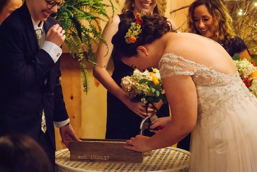 Wedding wine box malfunction | Alyssa Lee Photography | Camrose Hill Flower Studio indoor wedding | barn wedding | Minneapolis wedding podcast Under the Veil | Sixpence Events & Planning