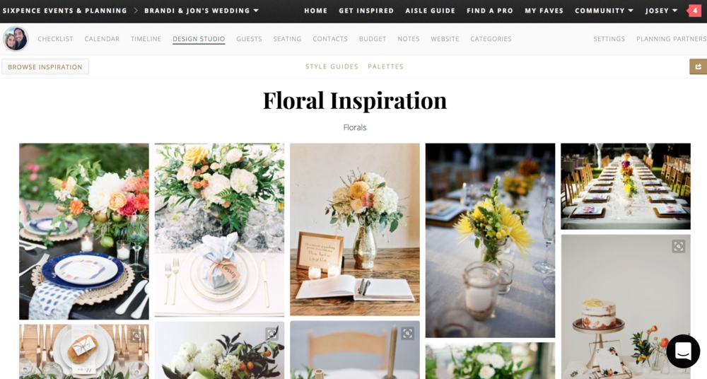 Aisle Planner design studio flower inspiration