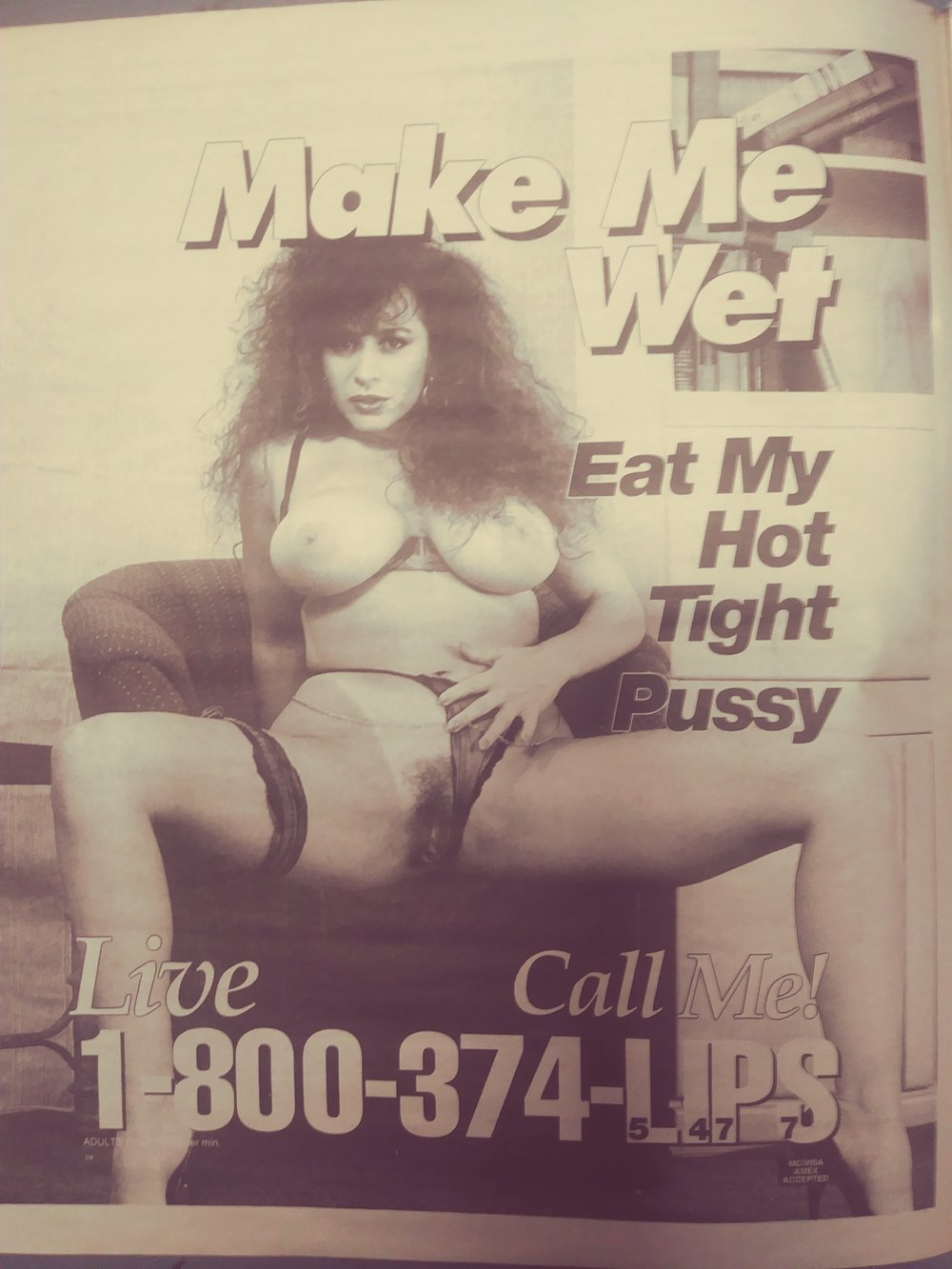 hairy escort phone sex ad from the 1970s