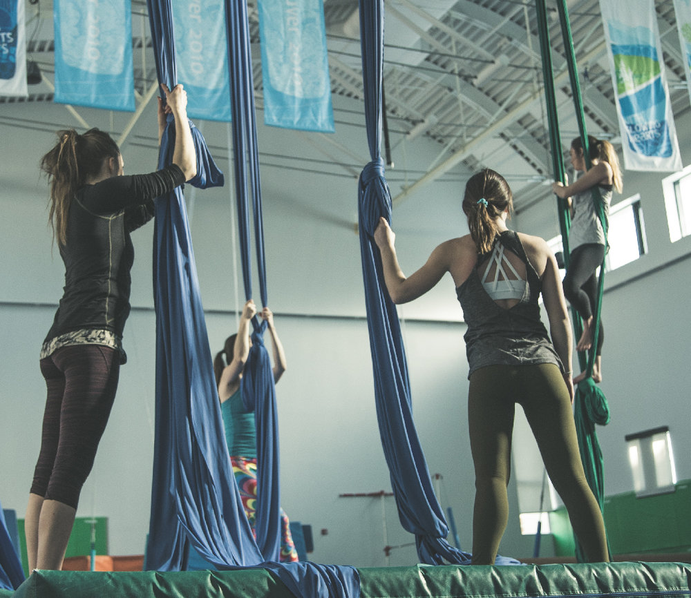 Adult Beginner Level I - Open to everyone from any background, no experience necessary. A six week course based on the fundamentals of aerial silks. We will be working on tricks in the knot formation, conditioning and learning how to climb. No pre-requisitesCost 6 Week Session: $129 + GST(1 time annual $20 membership fee required)