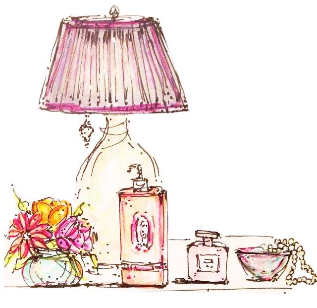 Perfume, flowers and pearls