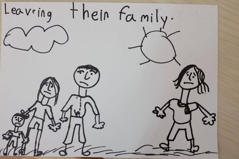A drawing by a kindergarten kid after HOME's school visit