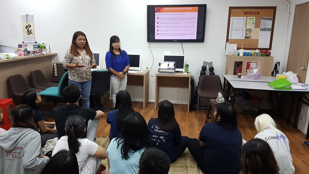 HOME Family leaders Bhing and Novia sharing their experiences with social work students