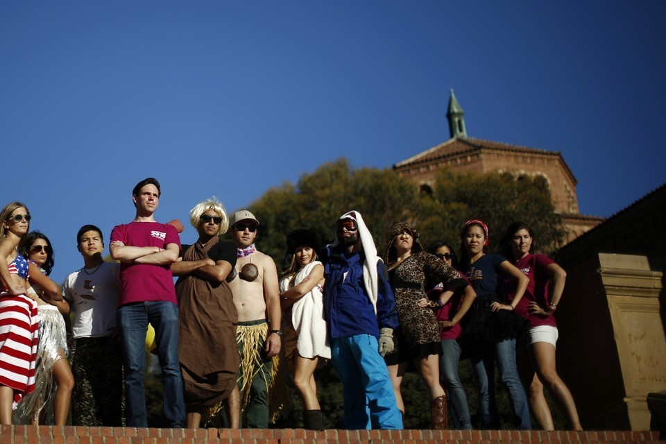 Business school students at UCLA pose for an orientation video in 2014
