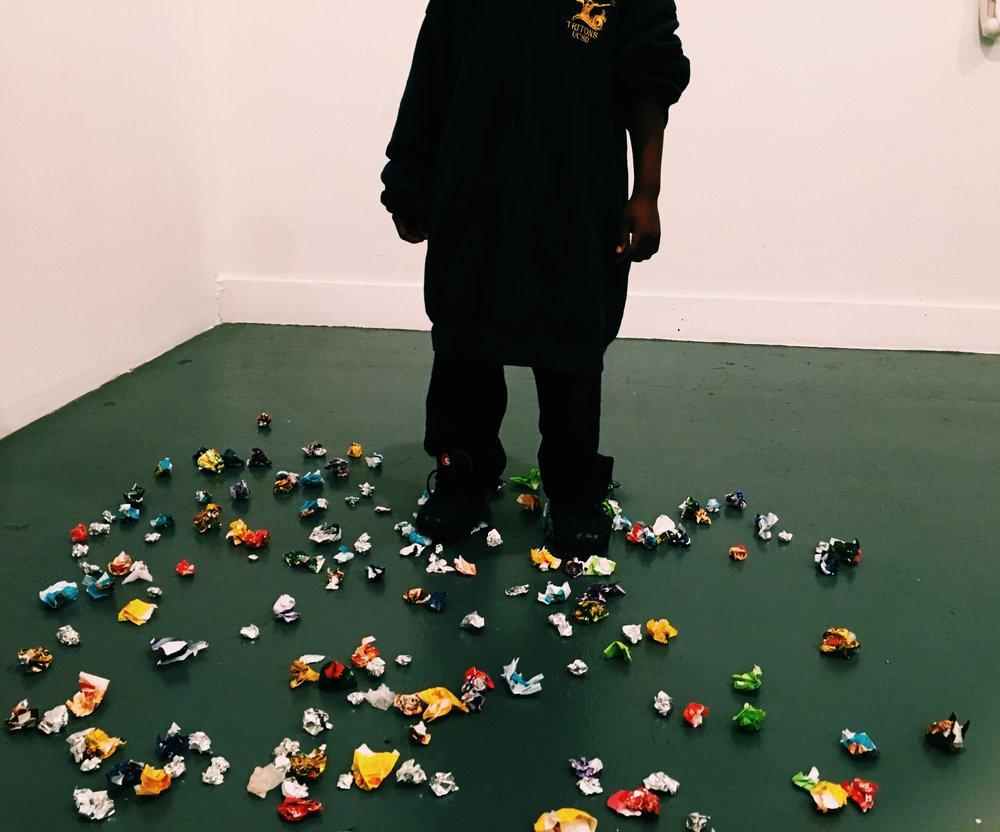 Child plays in Salomeya Sobko's sculpture