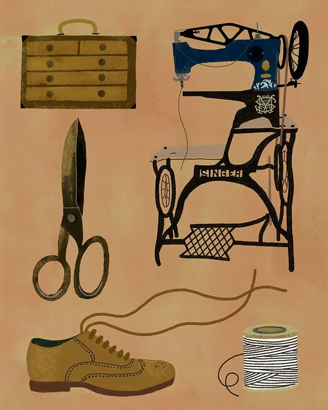 A piece I did a while back, featuring some tools of handcrafted shoemaking & trade. +++++++ #illustration #illustratorsoninstagram #illustrationartists #illustrationart #makersgonnamake #makersmovement #portfolio #beautifulmatters #sewing #shoemaker #sewingmachine #instadrawing #lifeofanartist #calledtobecreative #creativelifehappylife #creativityfound #surfacedesign #greetingcards #art #artwork #vintageshoes #paintingoftheday #creativewomen #editorialillustration #folk #artisanal #ilustracion #thingsorganizedneatly #arte