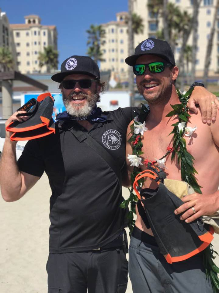 Dave Ford (right) after winning the 2017 Oceanside World Body Surfing Championships. Don McCredie (left) of DMC Fins.