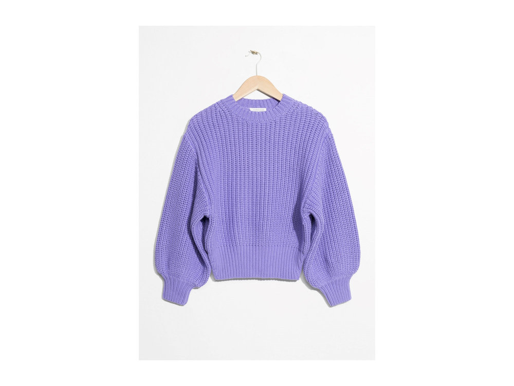 Chunky Rib Knit Cotton Sweater in Purple