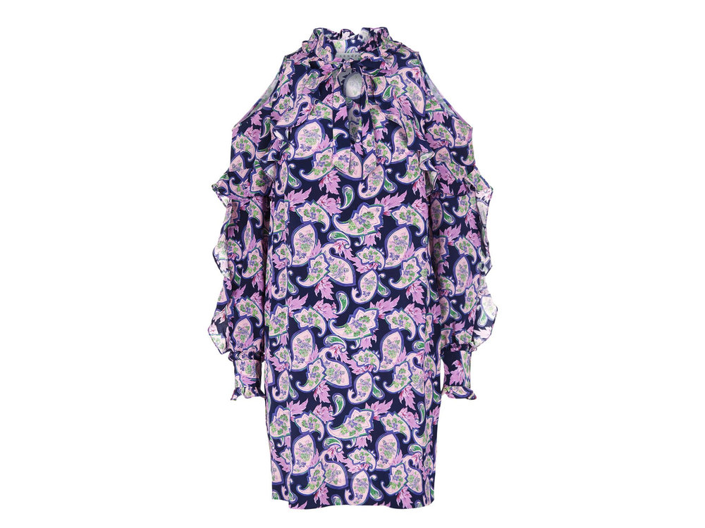 Paisley Print Silk Cold-Shoulder Dress by Sandro