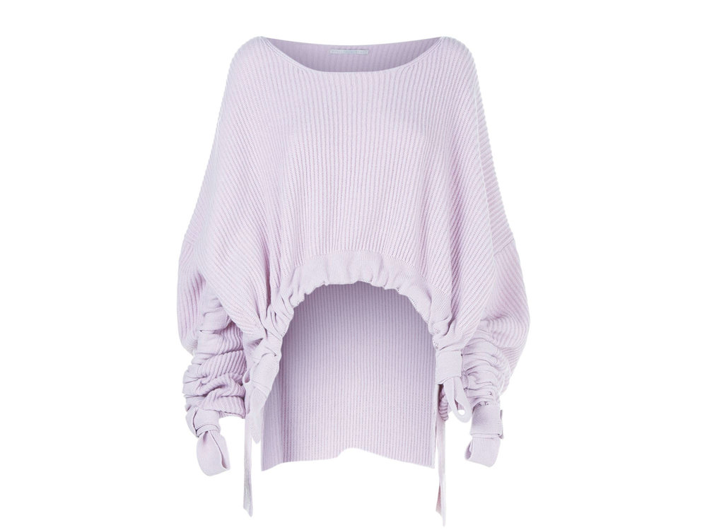 Ruched Cashmere-Wool Lilac Sweater by Stella McCartney