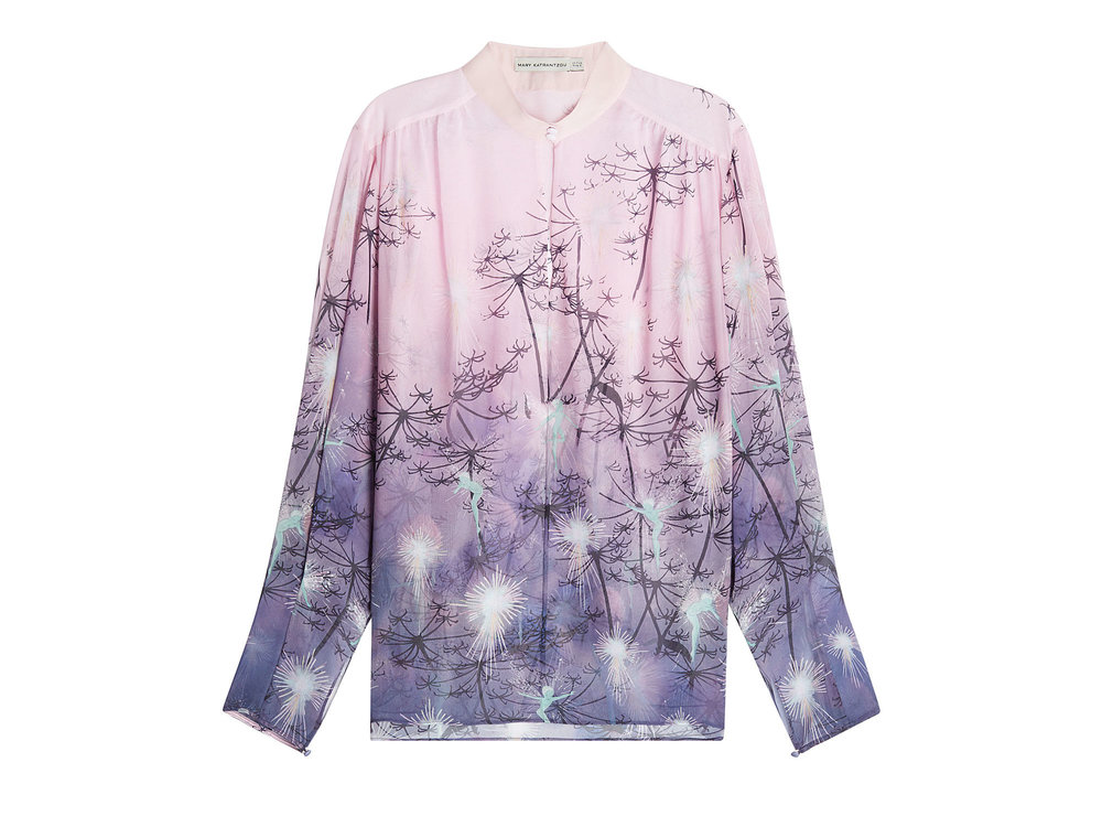 Pink and Purple Printed Silk Blouse by Mary Katrantzou