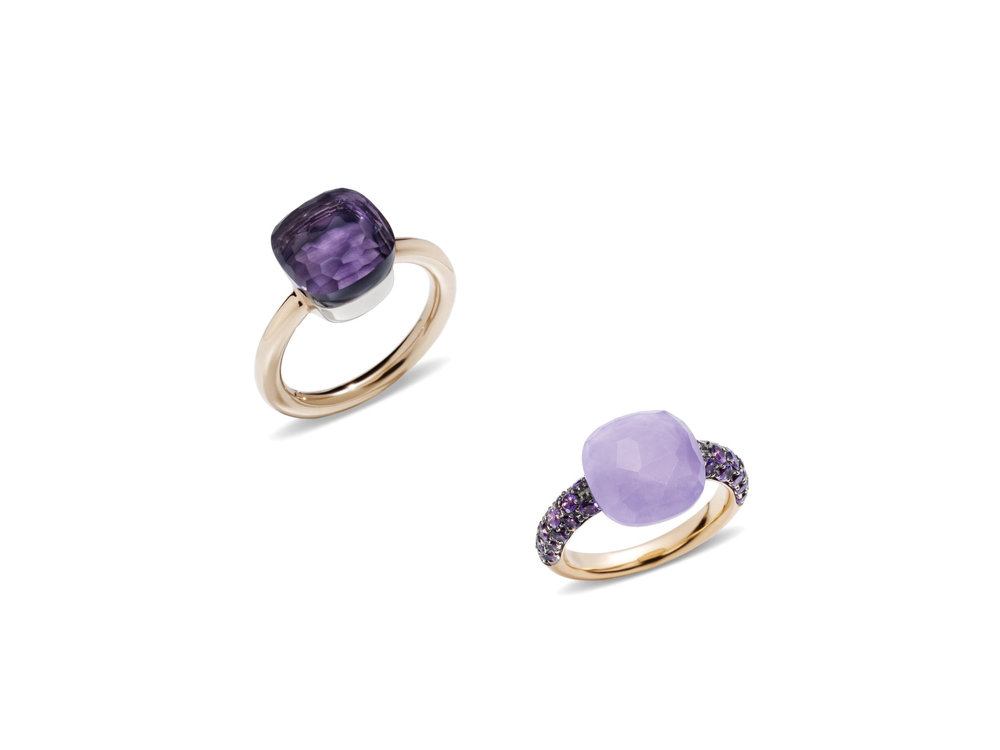 Nudo Amethyst Ring and Jade Rose Gold Capri Ring by Pomellato
