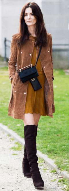Suede coat boots blogger