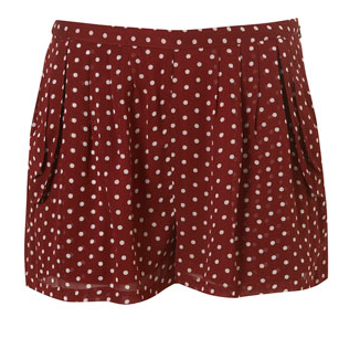 Burgandy Polka Shorts
