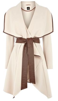 Cream coat with leather trim