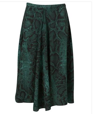 Green Snakeskin Topshop Skirt