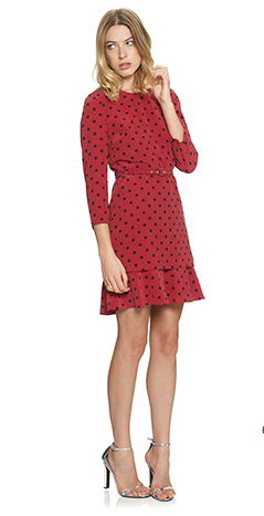Ruffle Silk Polka Dot Dress