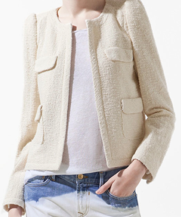 Cream Channel Style Jacket from Zara